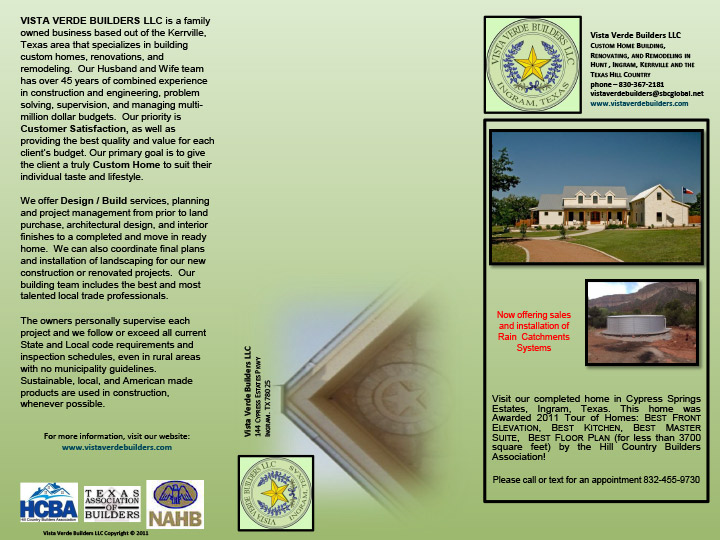 brochure vista verde builders llc